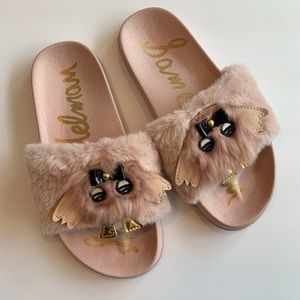 Sam Edelman Mackie Furry-T Faux Fur Sandals Size 2